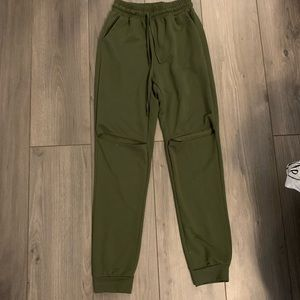 Pants - Army Green Ripped Knee Joggers
